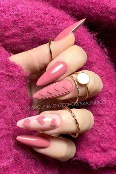 Very Cute Pink Valentines Nail Art Ideas Heart Nail Designs, Valentine's Day Nail Designs, Cute Acrylic Nail Designs, Best Acrylic Nails, Nails Design, Art Designs, Stylish Nails, Trendy Nails, Cute Nails
