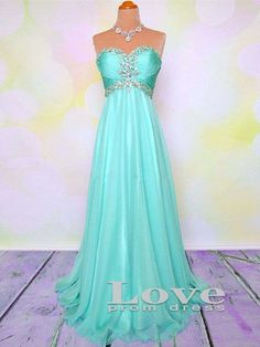 Custom Made A line Sweetheart Mint Chiffon Long Prom Dresses, Formal Dresses, Party Dresses, Evening Dresses