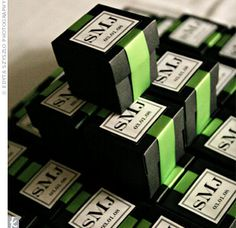 Guests took home black boxes filled with Koufeta—an Italian and Greek traditional wedding candy. Stephanie put the favors together with her mom and Greek grandmother, and sealed each box with a lime green ribbon and sticker with the couple. Wedding Notes, Wedding Favor Boxes, Diy Wedding Favors, Free Wedding, Wedding Ideas, Wedding Stuff, Wedding Fun, Party Favors, Italian Wedding Favors
