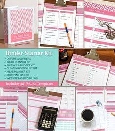 Household Binder Organization Starter Kit, 50 Editable Printable PDF Files, For Letter Paper, Instant Download on Etsy, $40.00