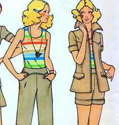 "Vintage 70s SUIT Jacket PANTS Skirt SHORTS Sewing Pattern Bust 36"" Size 12 Retro"