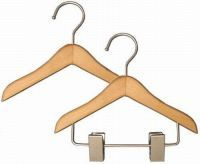 """Doll Clothes Hangers : Natural Finish w/ Chrome Hook and Clips. Fits 18"""" """"American Girl"""" Doll Clothes.These Doll Clothes Hangers are as sturdy as they are adorable! Little girls love to hang their doll clothes on these boutique-style clothes hangers. They come in (2) styles, with or without accessory clips. You'll love these commercial grade Doll Clothes Hangers."""
