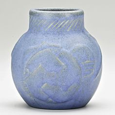 "VAN BRIGGLE;  Early vase with spider and Native American symbols, blue glaze, Colorado Springs, CO, 1902; Incised AA VAN BRIGGLE/1902/III, stamped 15, XXIII in marker; 4 3/4"" x 4 1/4"""