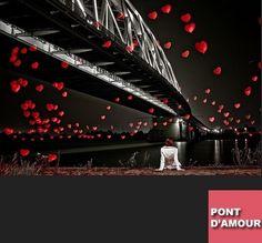 Pont d Amour - foto brug  tussen twee oevers of wig tussen twee matrassen ,dicht bij elkaar liggen