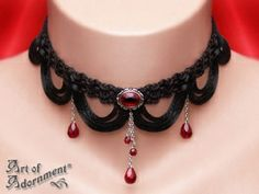 Vampire's Tears Black Fringe Braid Gothic Choker - Art of Adornment