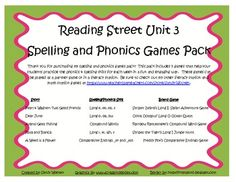 What a fun and engaging way to practice the spelling and phonics patterns from Reading Street Basal Series Unit 3! This pack includes 5 games that ...