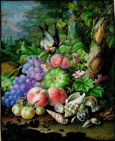 Herman Henstenburgh, Früchtestilleben mit Fink und maritimen Schneckenhäusern, um 1700 © Albertina, Wien