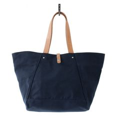Makr Goods Farm Tote Navy Canvas and Natural Horween Leather - $135