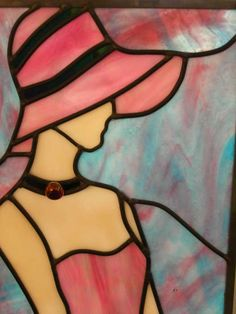 Stained glass lady I used this patern for one of my first stainglass projects! My most favourite hobby. Time and patience teaching a skillfull art! Stained Glass Quilt, Stained Glass Designs, Stained Glass Panels, Stained Glass Projects, Stained Glass Patterns, Mosaic Glass, Fused Glass, Tiffany Art, Glass Artwork