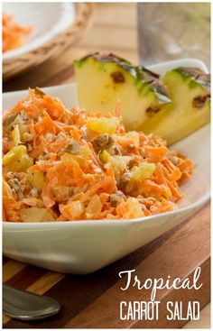 Tropical Carrot Salad: Shredded carrots, pineapple, pecans, and a delightful dressing. This easy salad recipe is healthy, low carb, and a great addition to any summer meal.