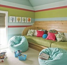 Possible color scheme for baby's room/guest room. Bright green, light blue, and coral accents.
