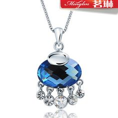 Wholesale Ming Lin Swarovski Elements pure silver blue crystal necklace lock jewelry Korean female short paragraph clavicle
