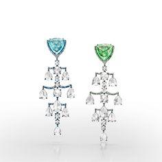 Susanne Syz titanium, white gold, Paraiba tourmaline, tsavorite, and diamond earrings, price upon request, suzannesyz.ch.-Wmag