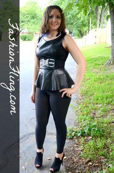 Chic Faux Leather Peplum Top 'cept change belt