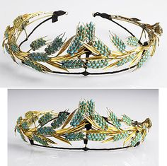 PERSIAN TURQUOISE 18K WHEAT TIARA, 19th C. Neoclassical design on gilt armature. Apparently unmarked. 114 gs. 8 1/3'' x 2 1/2''