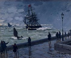 Claude Monet, The Jetty At Le Havre In Bad Weather on ArtStack #claude-monet #art
