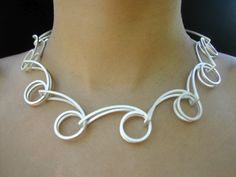 Spiral Necklace - using double wire and loops to build the chain