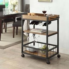 Austin Kitchen Cart - Linon and industrial in style and design, the Austin Kitchen Cart is perfect for adding storage to small dining rooms and kitchens. Crafted from metal, the base of the table features a black finish, while the wood Kitchen Trolley, Kitchen Storage, Storage Shelves, Wine Storage, Storage Cart, Kitchen Carts On Wheels, Rolling Kitchen Cart, Basement Storage, Bar Furniture