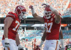 MIAMI GARDENS, FL - SEPTEMBER 21: Tight end Travis Kelce #87 of the Kansas City Chiefs celebrates his second-quarter touchdown against the Miami Dolphins in their game at Sun Life Stadium on September 21, 2014 in Miami Gardens, Florida.  (3312×2322)