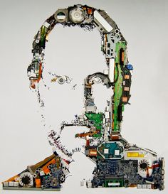 Portrait of Steve Jobs made from MacBook Parts, put together by designers at Mint Digital.