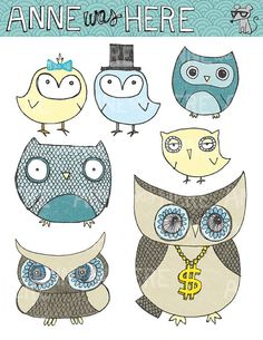Illustrated Awesome Owls  Digital Clip Art by AnneWasHere on Etsy, $5.00