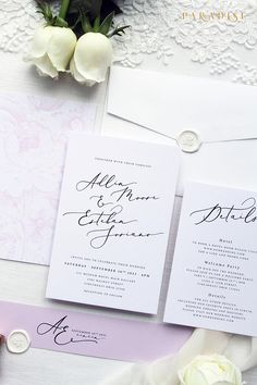 Adlin Blush Elegant Wedding Invitation Sets, Modern Invitation Kits, Wedding Stationery, Navy Wax Seals, Modern Calligraphy Invitations
