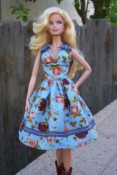 A Celebrity Who Must Not Be Named floral sundress for model muse Barbie. $18.00, via Etsy.