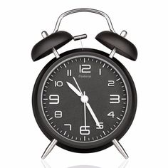 Peakeep Twin Bell Analog Alarm Clock Classic twin bell alarm clock, this vintage style takes you back to 80 s. Loud Alarm Clock and No Snooze Alarm Clo Retro Alarm Clock, Analog Alarm Clock, Travel Alarm Clock, Alarm Clocks, Alarm Clock Design, Best Alarm, Classic Clocks, Wall Clock Online, Bedroom Decor