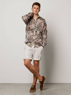 All-over printed linen shirt - dessin B - L - 3
