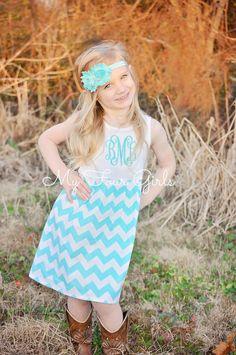 Chevron Dress Aqua Dress Girls Tank Dress by MyFourGirlsGifts
