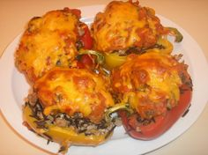 Ground Turkey and Wild Rice Stuffed Peppers. I'm not a fan of peppers but I could make this into stuffed cabbage Turkey Dishes, Turkey Recipes, Great Recipes, Chicken Recipes, Dinner Recipes, Favorite Recipes, Yummy Recipes, I Love Food, Good Food