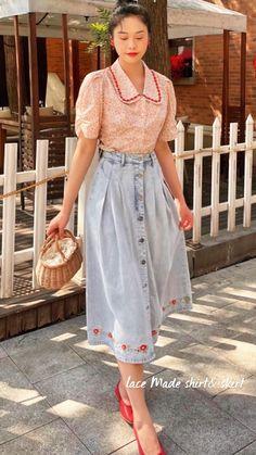 Modest Fashion, Fashion Outfits, Retro Fashion, Vintage Fashion, Vintage Videos, Attractive Guys, Shirt Skirt, Lace Making, Mori Girl