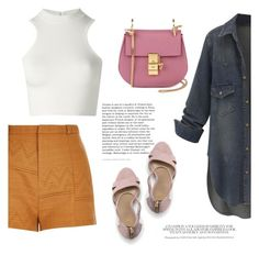 """""""Summer in Denim"""" by angel-with-shotgun ❤ liked on Polyvore featuring Lands' End, Versace, River Island and Chloé"""