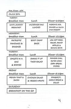 YW camp -  menu schedule
