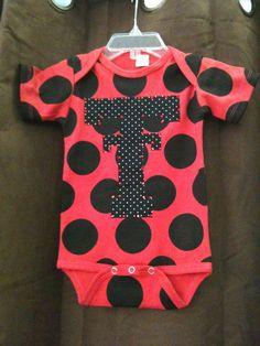 texas tech polka dot onesie!! I think McKinley NEEDS this!  @Danielle Taylor