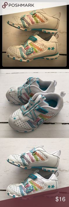 "✨Sketchers Sneakers✨ Super cute ""Heart Throb"" sneakers by Skechers. They have no tie silver sparkle ribbon Velcro closure. Multi color accents and rubber sole. They have been work but still in great shape! Original Box included. Skechers Shoes Sneakers"
