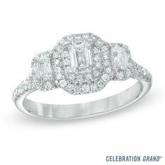 Celebration Grand® 1 CT. T.W. Emerald-Cut Diamond Three Stone Engagement Ring in…