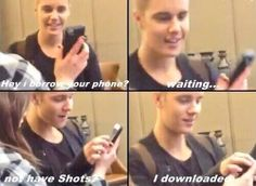 Justin downloading shots for her omg lmaooo