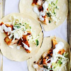 Spicy Fish Tacos with Cabbage Slaw + Lime Crema. The cabbage slaw and lime crema makes it so delicious! Fish Dishes, Seafood Dishes, Seafood Recipes, Mexican Food Recipes, Cooking Recipes, Fish Taco Recipes, Tilapia Fish Recipes, Cooking Gadgets, Think Food
