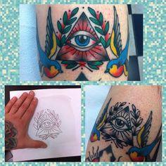 Traditional mystic all seeing eye blue birds old school tattoo by Brendan