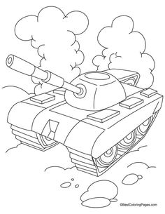 Tank with cloud coloring page Dog Coloring Page, Colouring Pages, Coloring Pages For Kids, Coloring Sheets, Coloring Books, Tank Drawing, Army Drawing, Soldier Drawing, Art Drawings For Kids