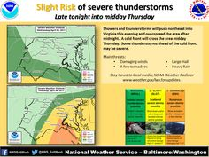 """This report from Inside Nova discusses the severe weather we are having right now in Northern Virginia and the surrounding areas. """"Storms in the overnight hours and Thursday morning — particularly south of Washington, may include damaging winds, frequent lightning, large hail, heavy rain and isolated tornadoes, according to the National Weather Service."""" If your home is affected by this ... Read More"""