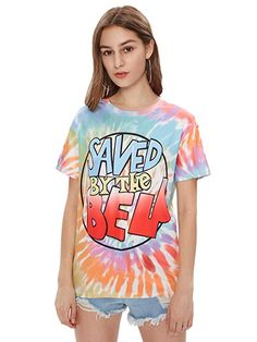 71ab3d219ce5 ROMWE Women s Colorful Tie Dye Ombre Drop Shoulder Tie Dye Graphic Tee at Amazon  Women s Clothing store