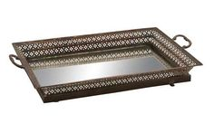 Old World Tuscan Metal Mirror Decorative Serving Tray - Decorative Plates & Bowls
