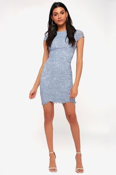aec7d7f6 Lovely Periwinkle Blue Dress - Bodycon Dress - Lace Dress Periwinkle Blue  Dress, Blue Lace