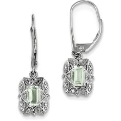 Sterling Silver Rhodium-plated Diamond & Octagon Green Quartz Earrings... (€39) ❤ liked on Polyvore featuring jewelry, earrings, prasiolite jewelry, sterling silver diamond earrings, rhodium plated jewelry, rhodium plated earrings and green quartz jewelry