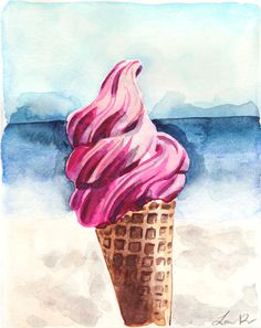 Pink Ice Cream at the Beach  ORIGINAL Watercolor by LauraRowStudio