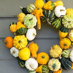 Mini Gourd and Pumpkin Wreath. Add a unique fall statement to your front door with this bright and colorful wreath. Using an awl, poke two holes in the bottom of a pumpkin or gourd. Thread florist's wire onto a wreath frame and attach the gourds one by one until you're satisfied with the look, then hang.