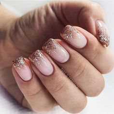 The 45 pretty nail art designs that perfect for spring looks 19 2020 trends Glitter Fade Nails, Faded Nails, Neutral Nails, Nail Art Designs, Shellac Designs, Milky Nails, Pretty Nail Art, Beautiful Nail Art, Shellac Nails
