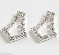 Swarovski Crystal V Style Earrings 22ct Gold Or Silver Plate Finish